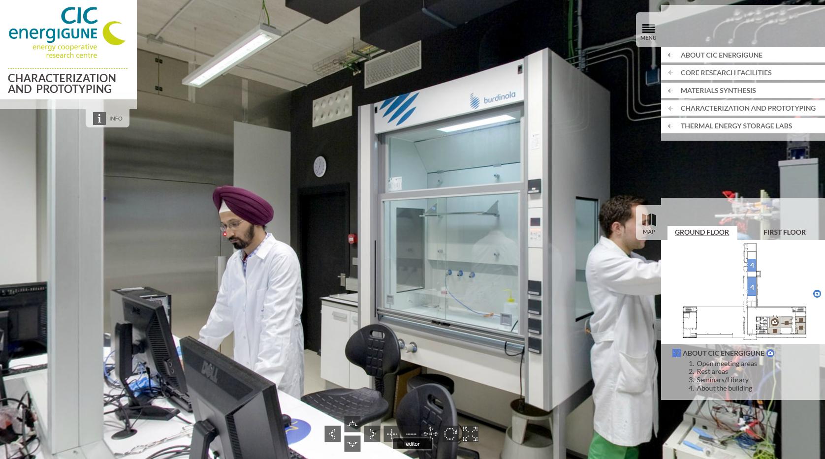 Fotografía de un panorámica 360º de un laboratorio de la Visita Virtual al edificio de CIC Energigune