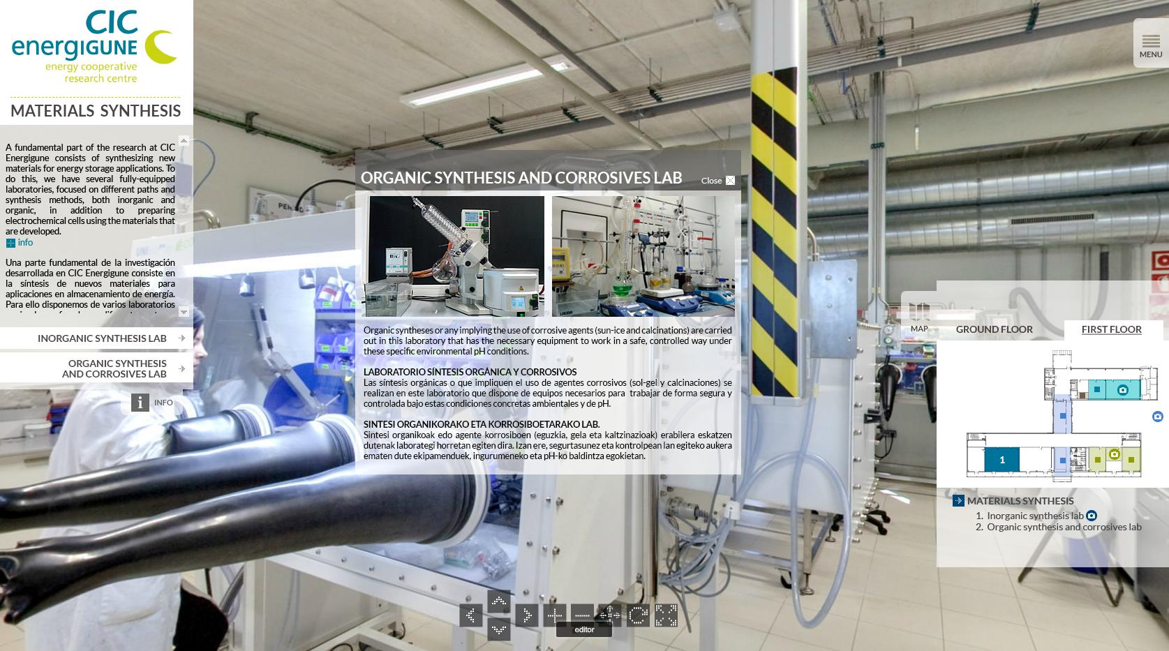 Fotografía de una imagen de la Visita Virtual en 360º a CIC Energigune