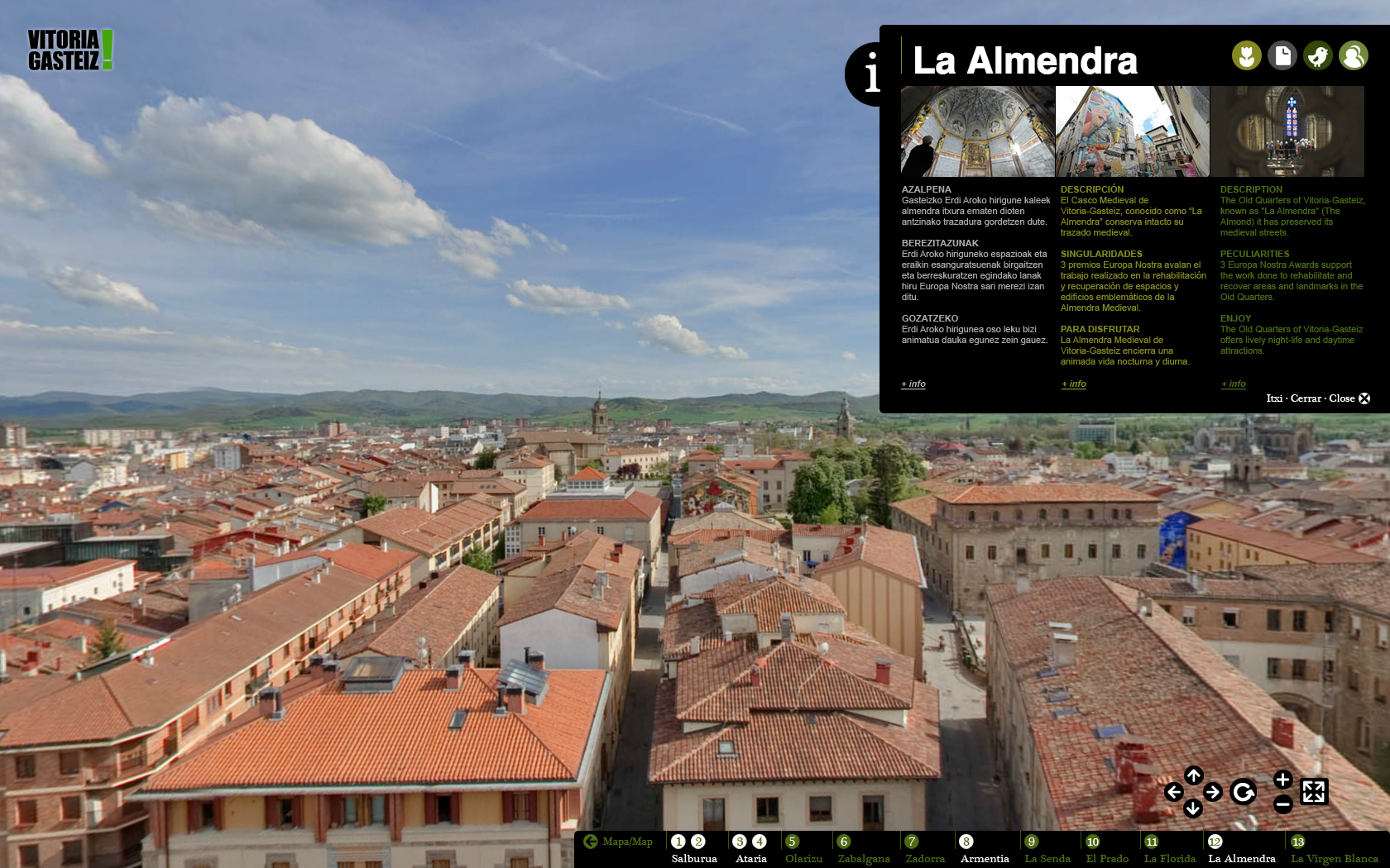 Fotografía panorámica 360º del Casco Medieval de Vitoria en la Visita Virtual - Vitoria-Gasteiz, Green Capital 2012