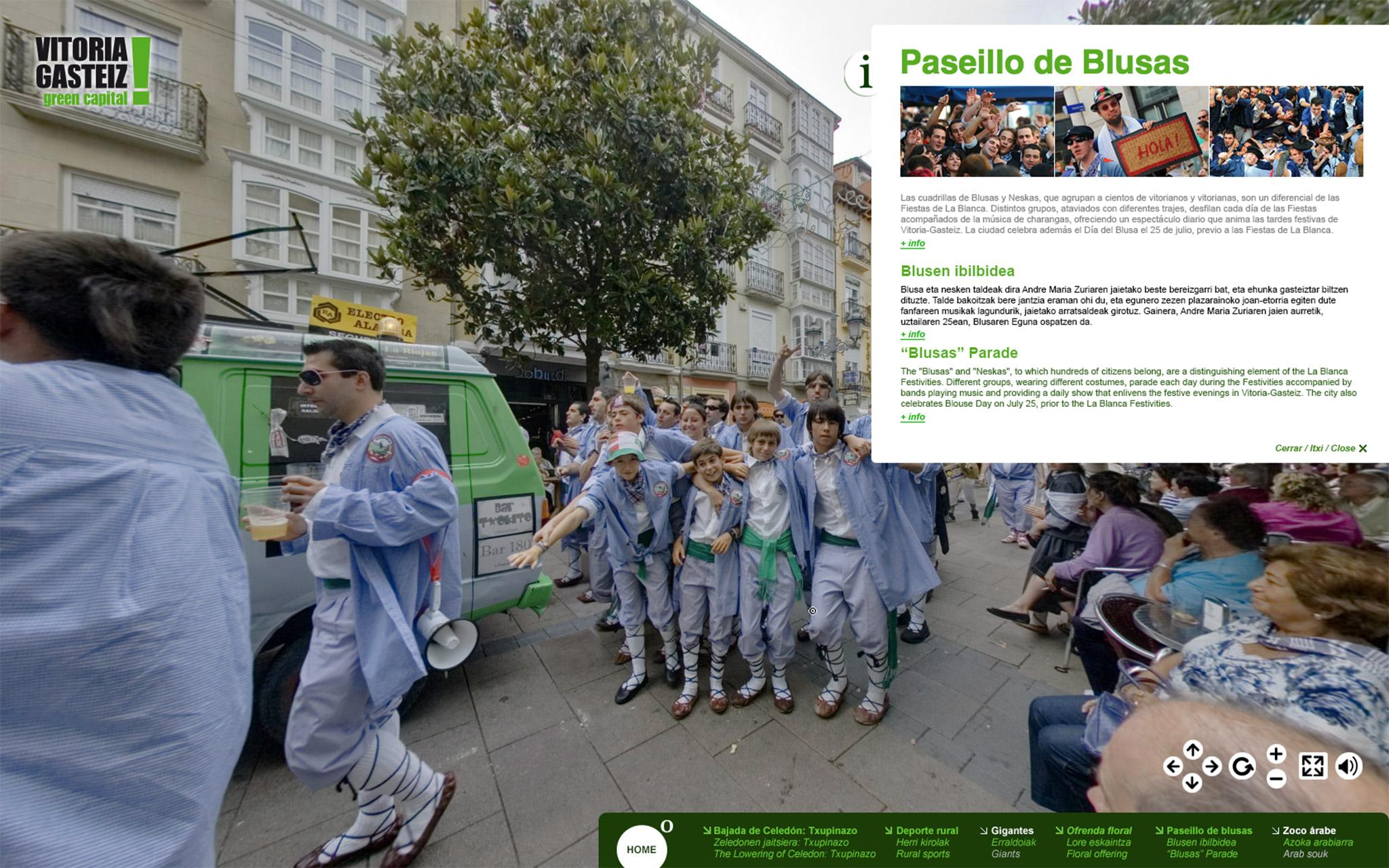 Fotografía de la panorámica en 360º del Paseíllo de los Blusas en la Visita Virtual La Blanca 360º.